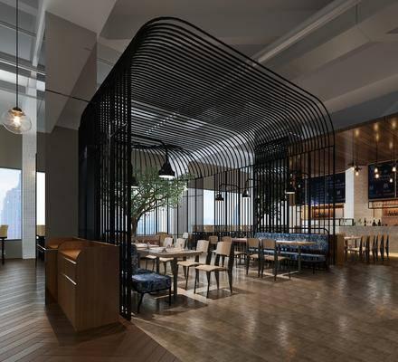 餐厅, 桌椅组合, 吊灯