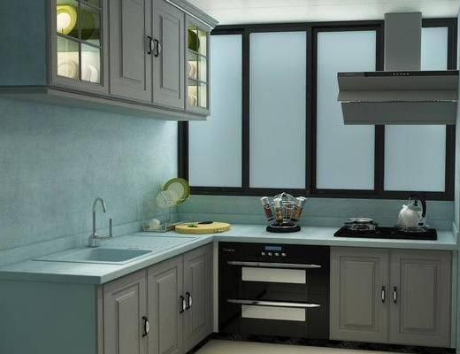 厨房, 橱柜, 茶具, 洗手台, 现代