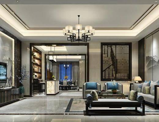 客厅, 沙发组合, 沙发茶几组合, 新中式, 中式, 吊灯, 背景墙