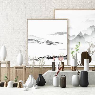 新中式陶瓷花瓶装饰摆件, 新中式, 花瓶, 装饰品, 摆件, 装饰画