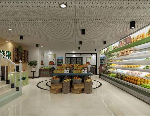 工装水果店, 现代, 水果店, 店铺, 冰柜, 冷柜