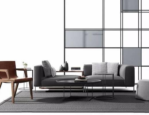 双人沙发, 茶几, 单椅, 置物柜, 抱枕