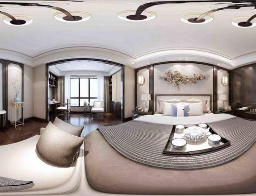 卧室, 中式卧室, 新中式卧室, 床, 吊灯, 桌椅