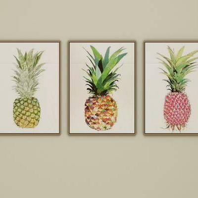 清新北欧风格挂画, 北欧, 装饰画, 菠萝画, 挂画