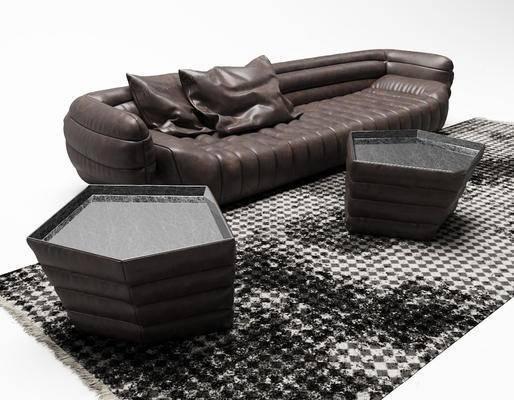 沙发组合, 茶几, 抱枕, 多人沙发