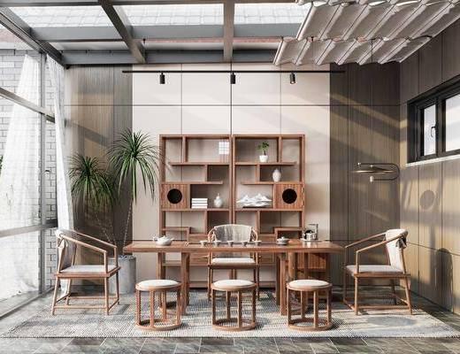 新中式阳光房, 装饰柜, 茶桌