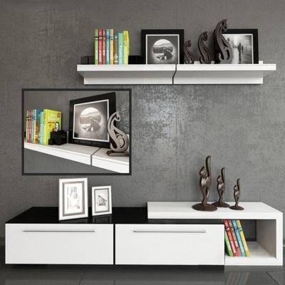 电视柜, 书架, 置物架, 摆件, 书籍, 雕塑, 相框, 现代
