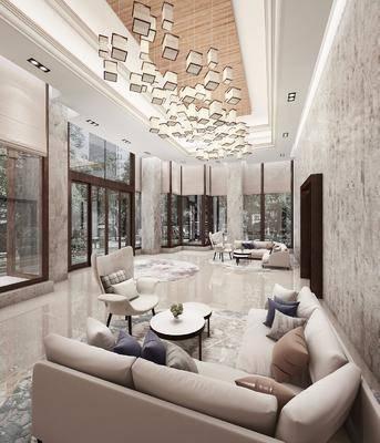 现代轻奢大堂, 大堂, 转角沙发, 茶几, 沙发椅, 吊灯, 现代