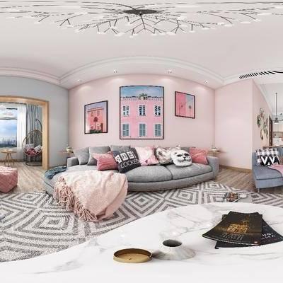 客厅, 北欧客厅, 北欧卧室, 现代卫生间, 沙发组合, 沙发茶几组合