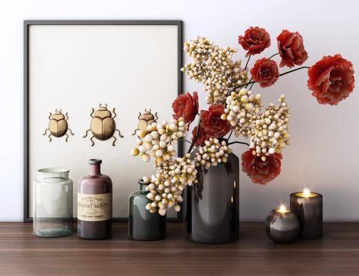 摆件组合, 花瓶花卉, 现代摆件组合
