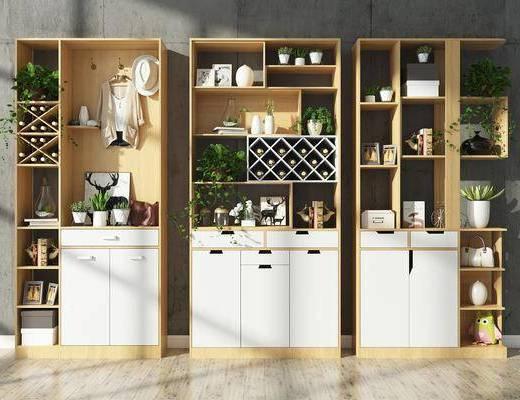 柜架组合, 酒柜, 边柜, 装饰柜, 摆件, 装饰品, 红酒, 植物, 盆栽, 置物架, 现代柜架组合, 现代