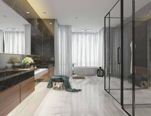 卫生间, 洗手台, 凳子, 浴缸, 现代