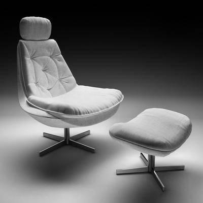 单人椅, 脚踏椅, 布艺椅, 现代