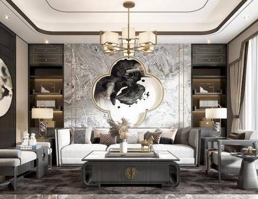 沙发, 茶几, 椅子, 角几, 台灯, 吊灯, 书柜, 床尾踏, 挂画