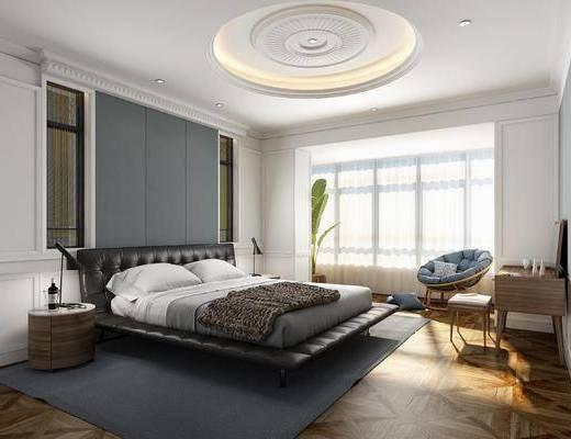 北欧, 简约, 卧室, 床具, 双人床, 背景墙, 盆栽, 植物, 单椅, 化妆台, 床头柜, 台灯