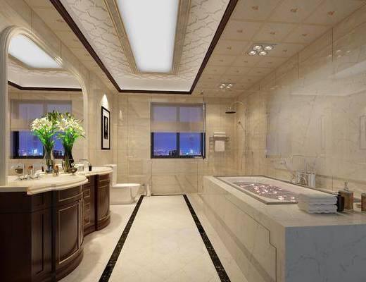 卫生间, 洗手台, 浴缸, 马桶, 花瓶花卉, 花洒, 装饰品, 陈设品, 欧式
