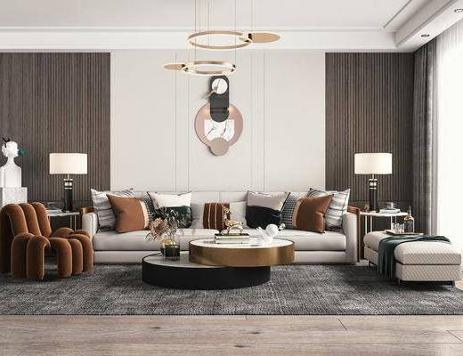多人沙发, 休闲椅, 雕塑, 吊灯, 墙饰