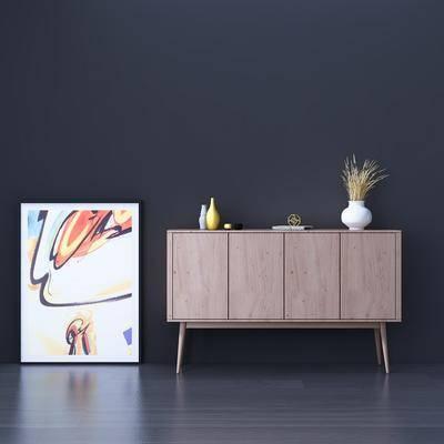 边柜, 玄关柜, 现代, 陈设品, 摆件, 花瓶, 装饰画