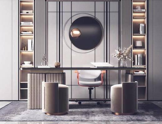 现代轻奢, 书房, 书桌, 单椅, 墙饰, 摆件