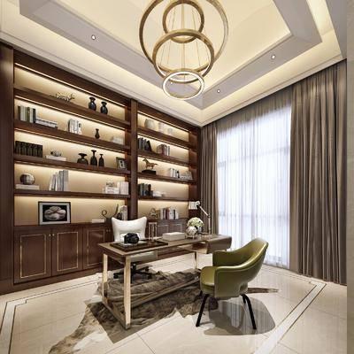 书房, 书桌, 单人椅, 休闲椅, 装饰柜, 书籍, 摆件, 装饰品, 陈设品, 吊灯, 新古典