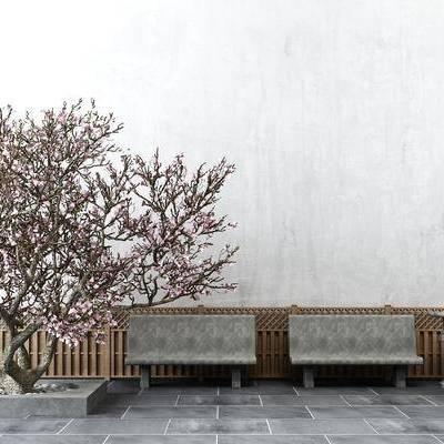 园艺小品, 树, 石凳, 庭院, 中式, 新中式