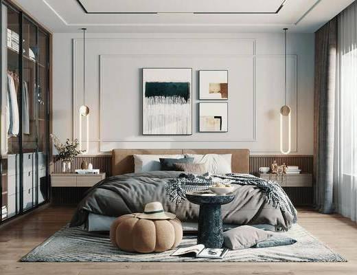双人床, 装饰画, 床头柜, 吊灯, 窗帘, 衣柜