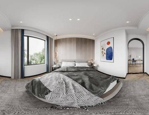 现代, 卧室, 书房, 全景, 家装