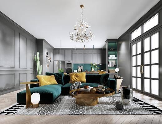 沙发组合, 茶几, 摆件组合, 单椅, 吊灯