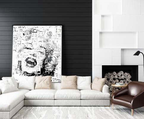 现代黑白灰风格沙发, 椅子, 皮椅, 落地灯, 木柴, 多人沙发, 装饰画, 现代