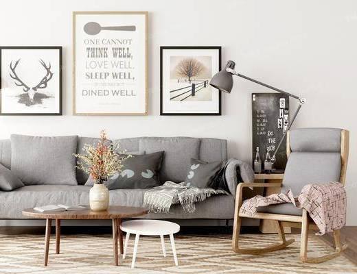 单椅, 背景墙, 装饰品, 沙发组合, 茶几, 摆件组合