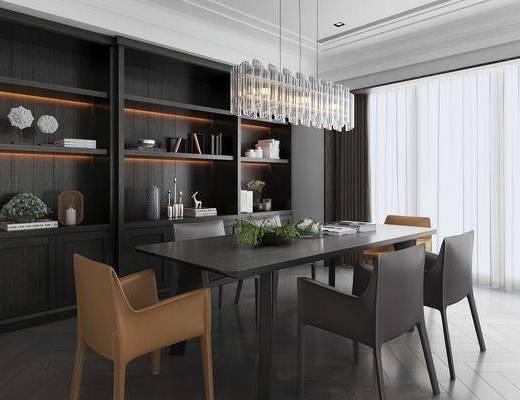 餐厅, 餐桌, 餐椅, 单人椅, 吊灯, 装饰柜, 摆, 摆件, 装饰品, 陈设品, 现代轻奢
