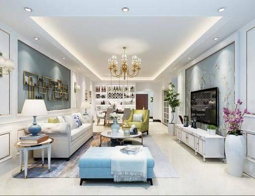 歐式客廳, 客廳, 餐廳, 餐桌椅, 沙發組合