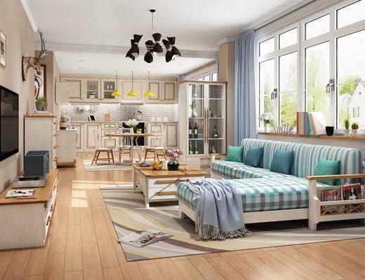 沙发组合, 茶几, 吊灯, 电视柜, 摆件组合, 餐桌, 装饰画