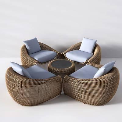 藤椅, 现代桌椅组合, 桌椅组合, 茶几, 现代