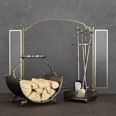 木柴, 壁爐擺件, 現代
