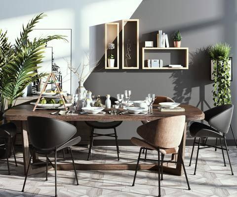 餐桌, 桌椅组合, 餐具组合, 植物