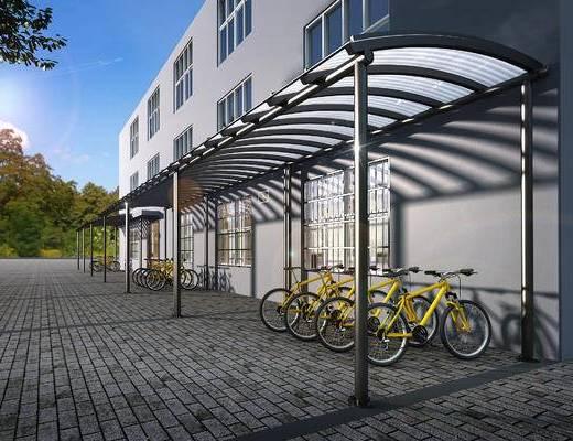 停车场, 雨棚, 钢构架雨棚