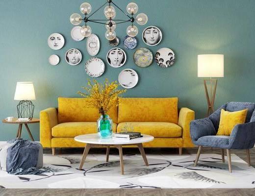 北欧沙发组合, 双人沙发, 沙发椅, 茶几