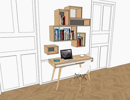 写字桌, 柜架组合, 书籍, 电脑桌