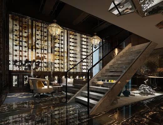 新中式, 酒吧, 楼梯, 吊灯, 单椅, 餐桌
