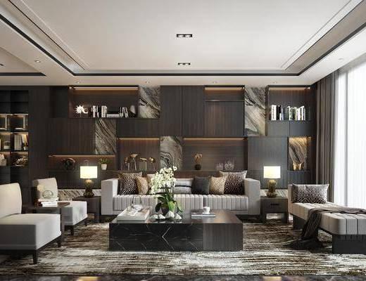 客厅, 多人沙发, 茶几, 单人沙发, 躺椅, 边几, 台灯, 人物画, 装饰画, 挂画, 书柜, 书籍, 花瓶花卉, 摆件, 装饰品, 陈设品, 现代