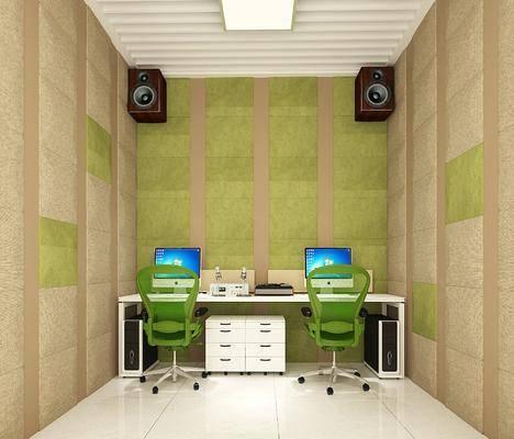 錄音室, 辦公桌, 辦公椅, 電腦, 現代
