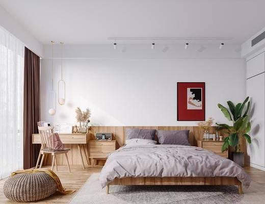 北欧卧室, 双人床, 摆件, 挂画, 桌椅, 床头柜, 吊灯