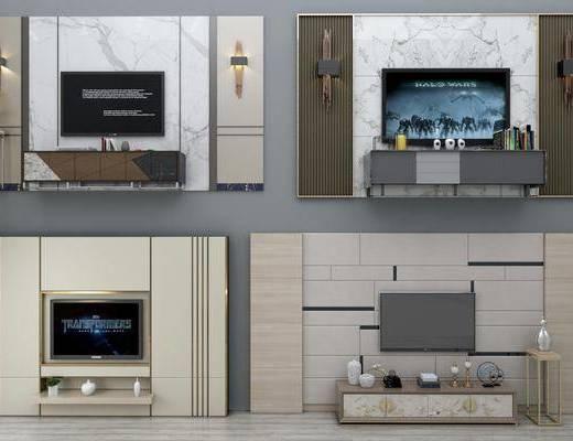 电视背景墙, 边柜, 壁灯, 现代