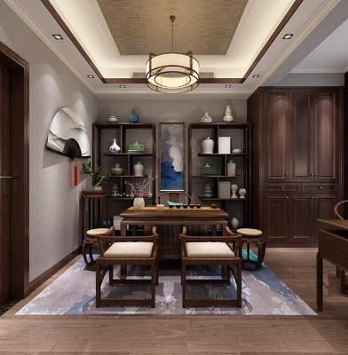 茶室, 茶桌, 凳子, 摆件, 装饰架, 墙饰, 吊灯, 装饰品, 陈设品, 绿植, 盆栽, 植物, 单人椅, 新中式