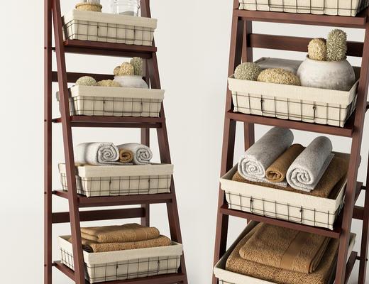 美式简约, 浴室, 毛巾, 置物架, 组合, 日用品组合