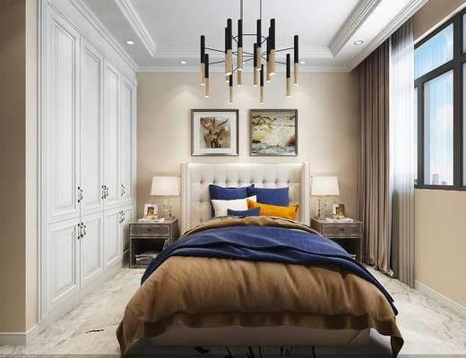 单人床, 装饰画, 床头柜, 衣柜, 台灯, 窗帘