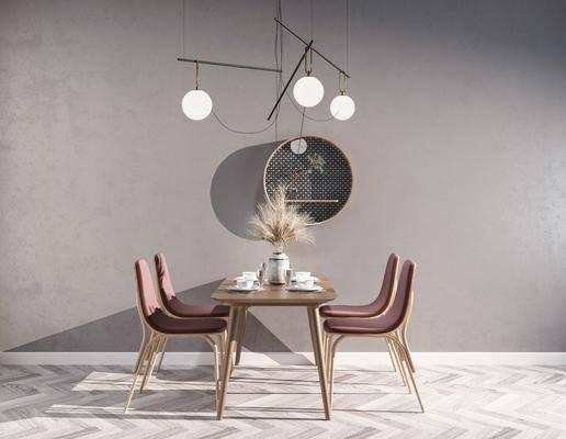 餐桌, 桌椅组合, 吊灯, 墙饰, 餐具组合