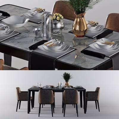 现代餐桌3d模型, 餐桌, 摆件组合, 餐具, 桌椅组合