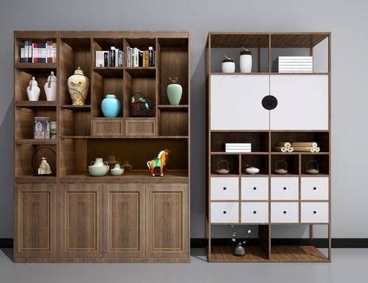 酒柜, 置物柜, 摆件, 装饰品, 陶瓷, 书籍, 新中式